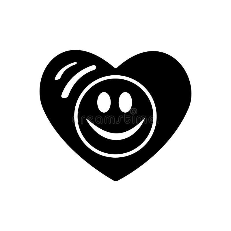 Symbol der Liebe Rote Rose Smileygesichtsikone, emoji im Herzen Flache Art für Websitebloggrafikdesign, Logo have stock abbildung