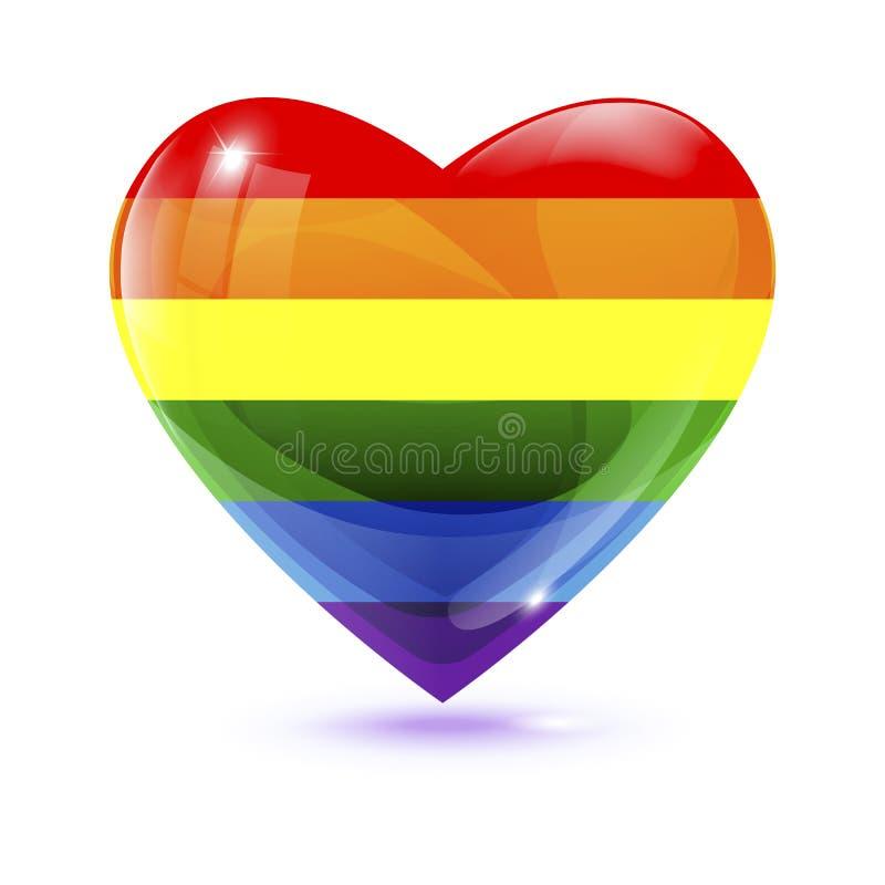 Symbol der Regenbogenflagge LGBT in der Herzform lizenzfreie abbildung
