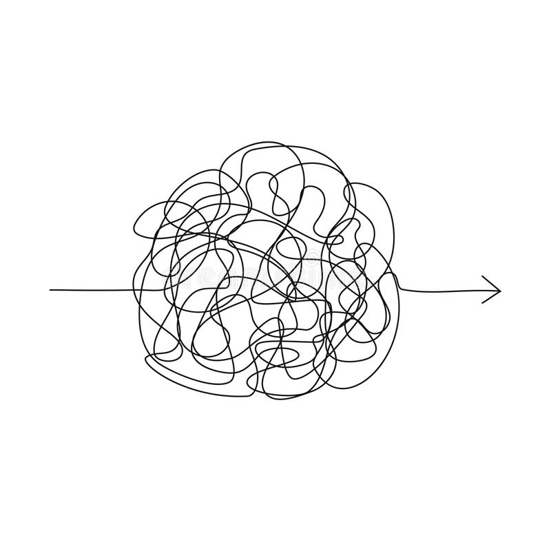 Symbol der schwierigen Weise, Chaos, Durchlaufweisenpfeil lizenzfreie abbildung