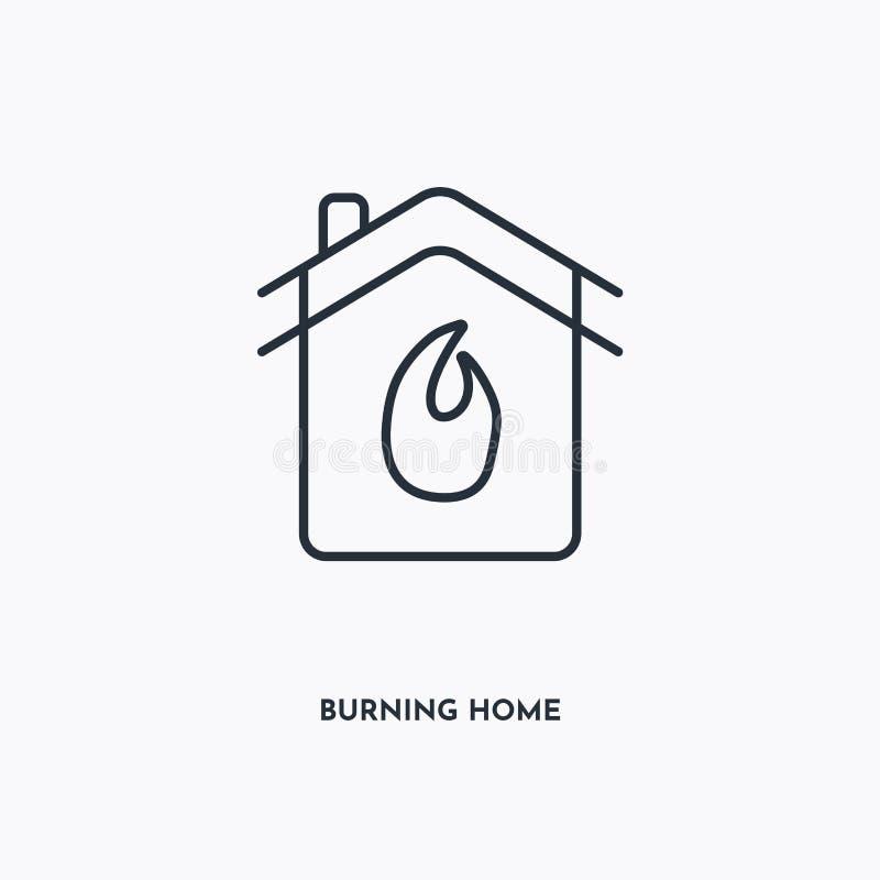 Symbol der Umrisslinie brennen Einfache lineare Darstellung Isolierte Zeile Auf weißem Hintergrund brennendes Home-Symbol Dünnsch stock abbildung