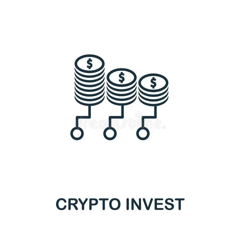 Symbol der Umrisslinie Crypto Invest Thin Line Concept Element aus der Sammlung von Fintech Technology Icons Creative Crypto Inve lizenzfreie abbildung