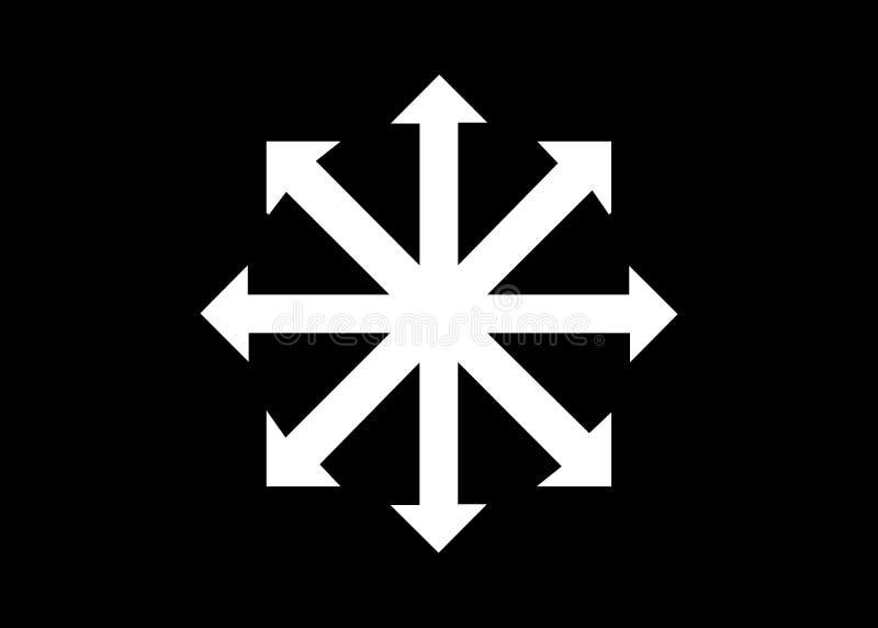 Symbol des Chaosvektors lokalisiert auf schwarzem Hintergrund Ein Symbol, das vom ewigen Meister, sp?ter angenommen von den Occul lizenzfreie abbildung