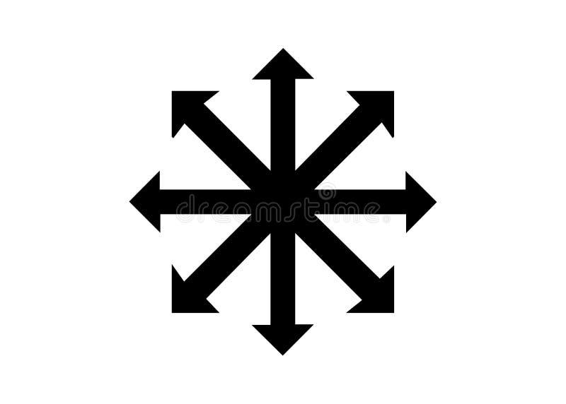 Symbol des Chaosvektors lokalisiert auf weißem Hintergrund Ein Symbol, das vom ewigen Meister, sp?ter angenommen von den Occultis lizenzfreie abbildung