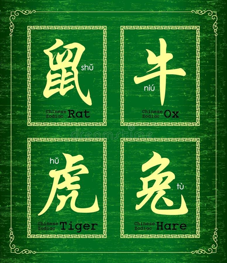Symbol des chinesischen Schriftzeichens über chinesischen Tierkreis vektor abbildung