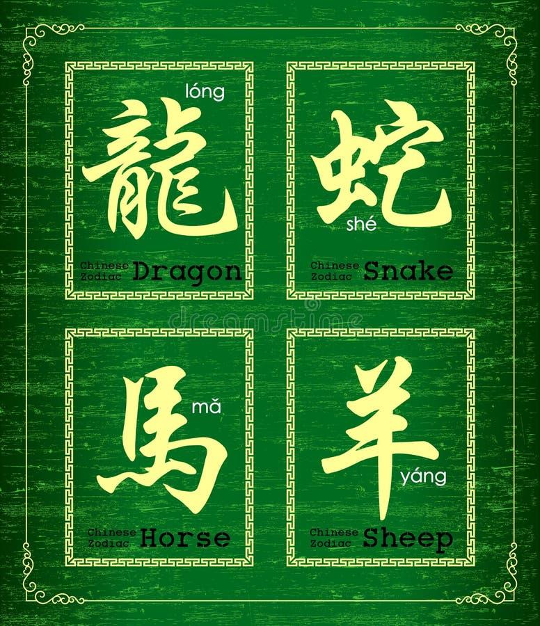Symbol des chinesischen Schriftzeichens über chinesischen Tierkreis lizenzfreie abbildung
