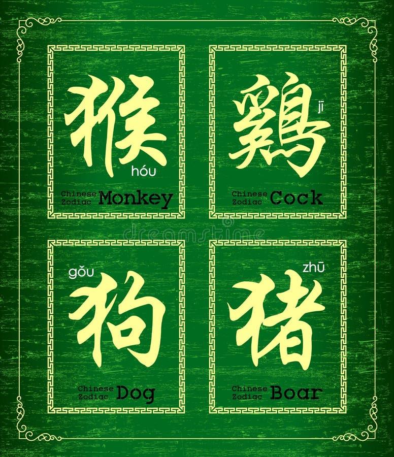 Symbol des chinesischen Schriftzeichens über chinesischen Tierkreis stock abbildung