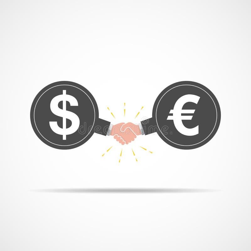 Symbol des Händedrucks zwischen Dollarzeichen und Euro Auch im corel abgehobenen Betrag lizenzfreie abbildung