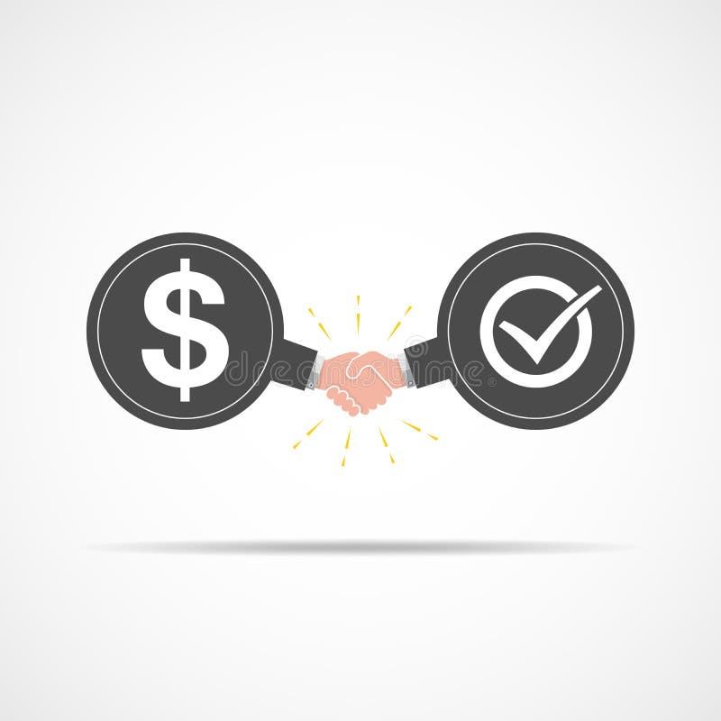 Symbol des Händedrucks zwischen Dollarzeichen und Häkchen Auch im corel abgehobenen Betrag lizenzfreie abbildung