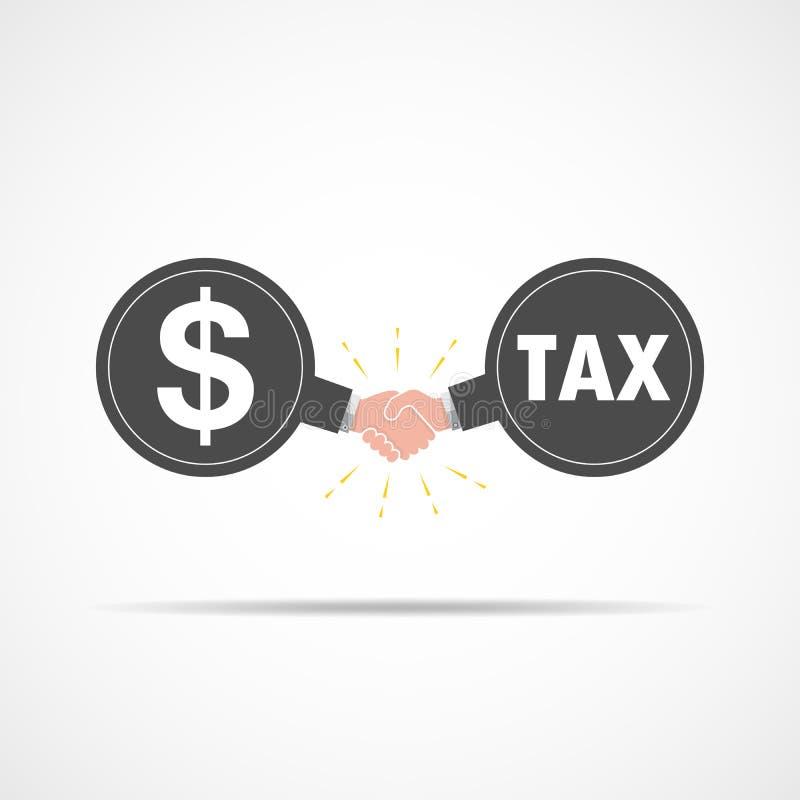 Symbol des Händedrucks zwischen Dollarzeichen und Steuer Auch im corel abgehobenen Betrag lizenzfreie abbildung