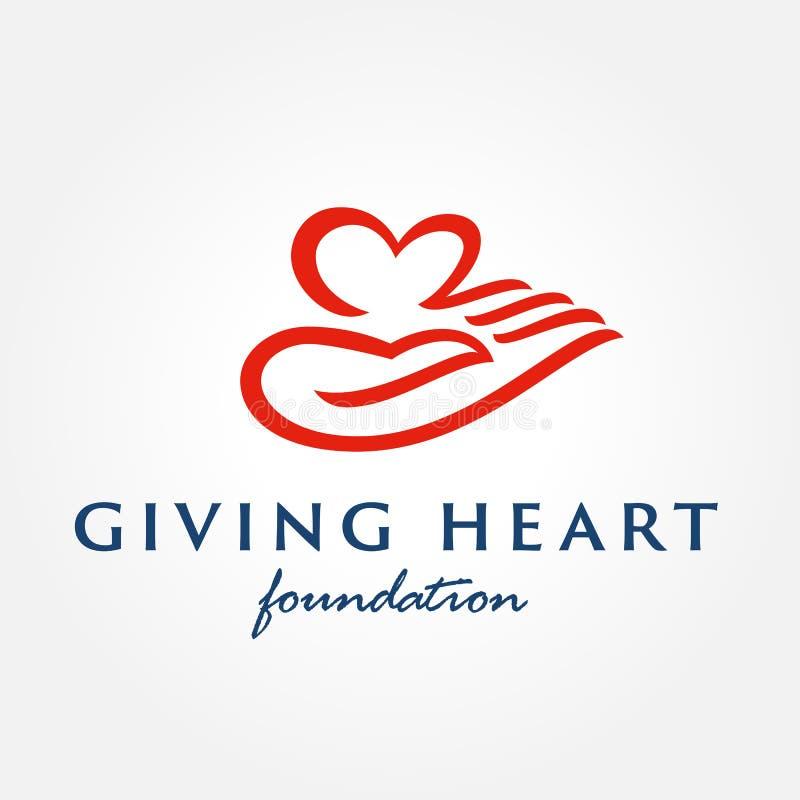 Symbol des Herzens in der Hand, Zeichen, Ikone, Logoschablone vektor abbildung