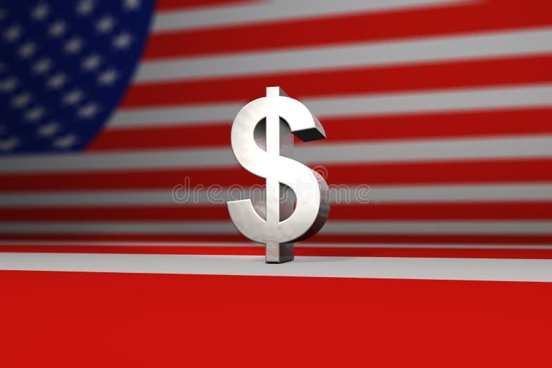 Symbol des silbernen Dollars vor amerikanischer Flagge vektor abbildung