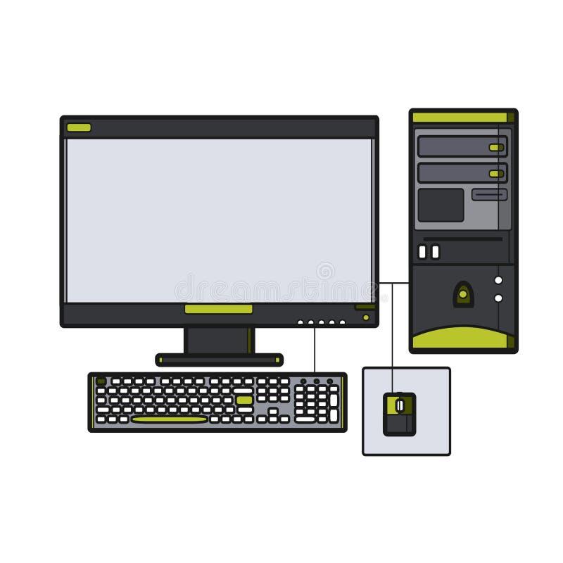 Symbol Desktop Computer Icon For Web Site Line Art Vector Illu