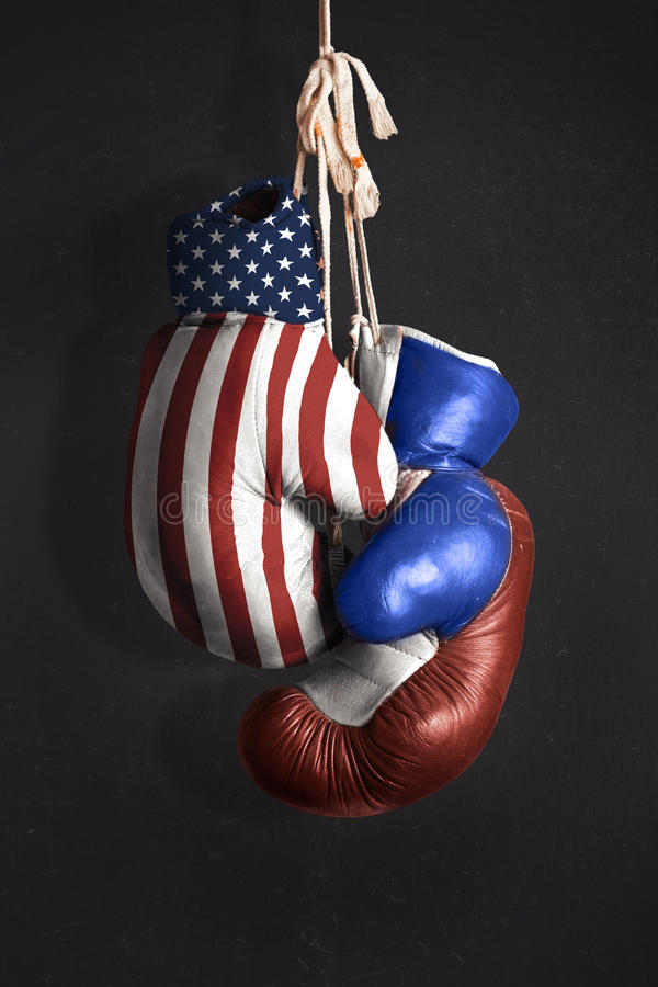 Symbol diplomacy between Russia and the USA. Symbol of diplomacy between Russia and the USA stock photo