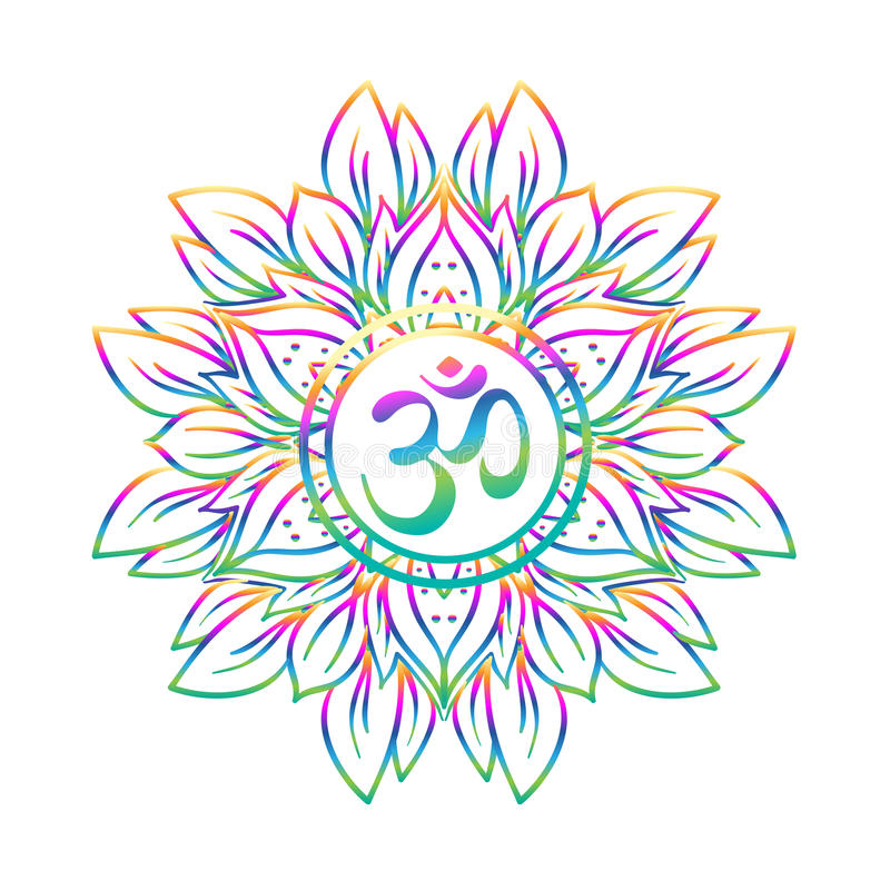 Symbol Diwali OM mit Mandala Rundes Muster Weinleseart Dezember stock abbildung