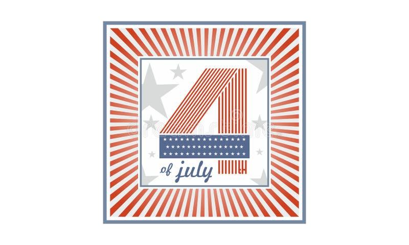 Symbol dzień niepodległości Stany Zjednoczone Ameryka, także nawiązywać do czwarty Lipiec jako 4 Lipca USA royalty ilustracja