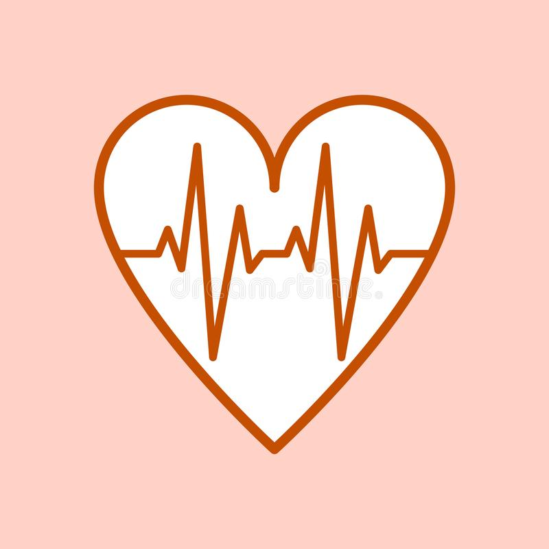 The symbol of the ECG in heart. The isolated emblem of the ECG in heart royalty free illustration