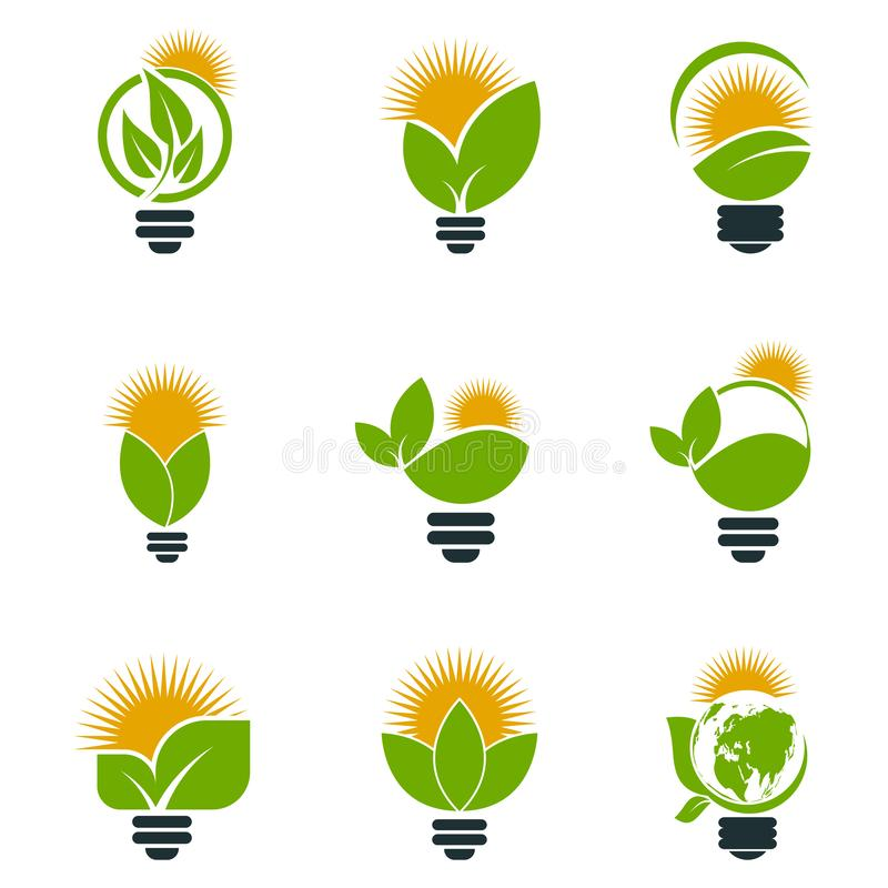 Symbol ecology bulb logos of green with sun and leaves nature element icon on white background.vector illustrator. Ecology Saving Gear Concept And stock illustration