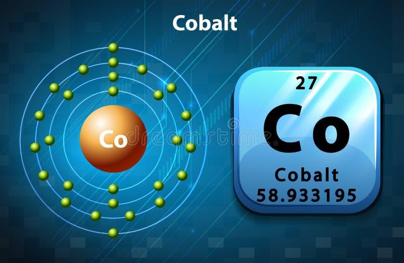 Symbol and electron number of Cobalt stock illustration