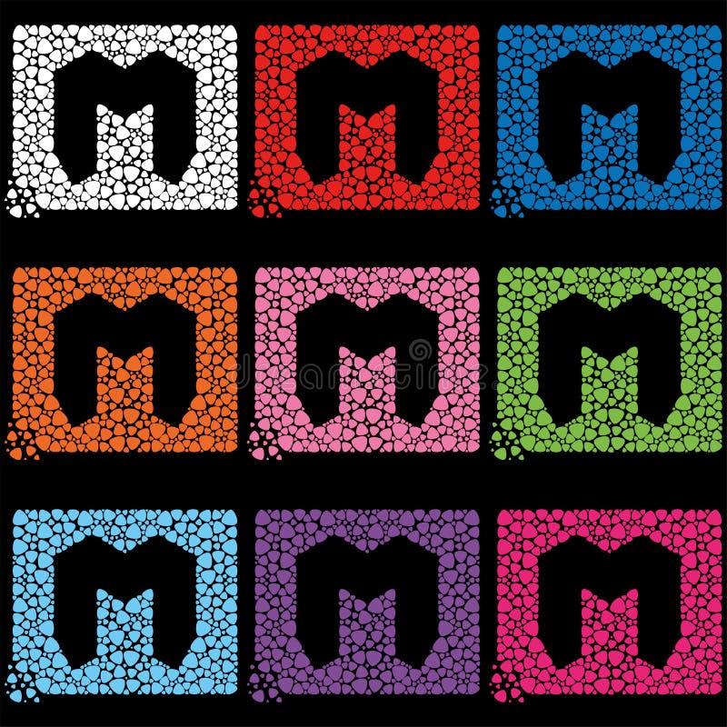 Symbol eller bokstav M som omges av flerfärgade medlare, symbol för bokstav M royaltyfri illustrationer
