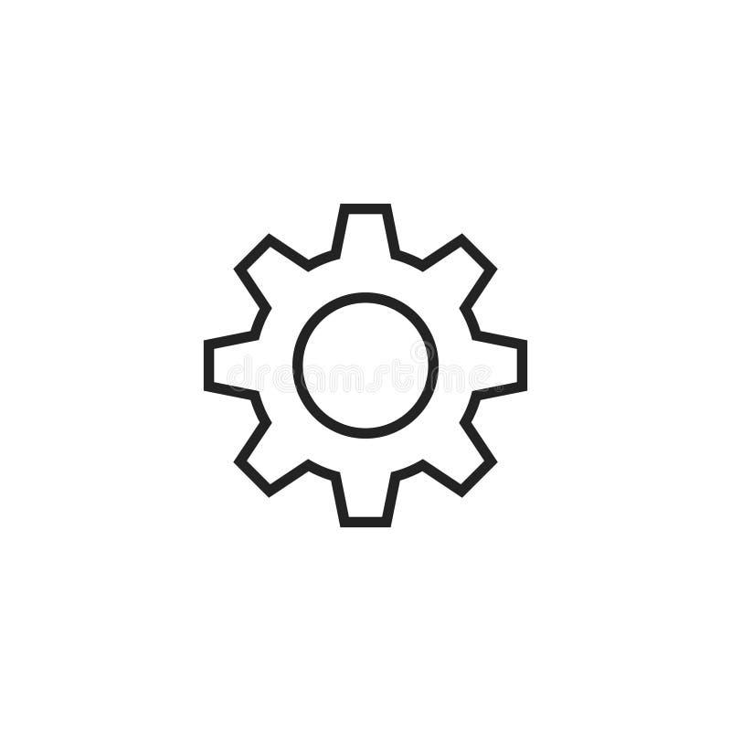 Symbol, symbol eller logo för kugghjulöversiktsvektor stock illustrationer