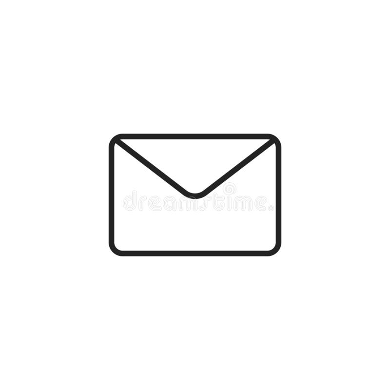 Symbol, symbol eller logo för kuvertöversiktsvektor royaltyfri illustrationer