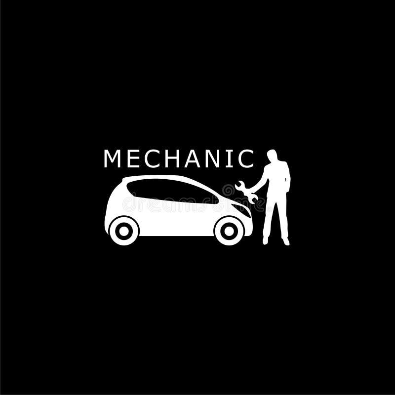 Symbol eller logo för mekaniker för seminarium för bilreparationsservice på mörk bakgrund stock illustrationer