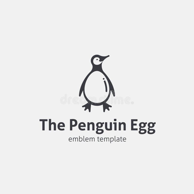 Symbol eller logo för symbol för begrepp för pingvinäggvektor royaltyfri illustrationer