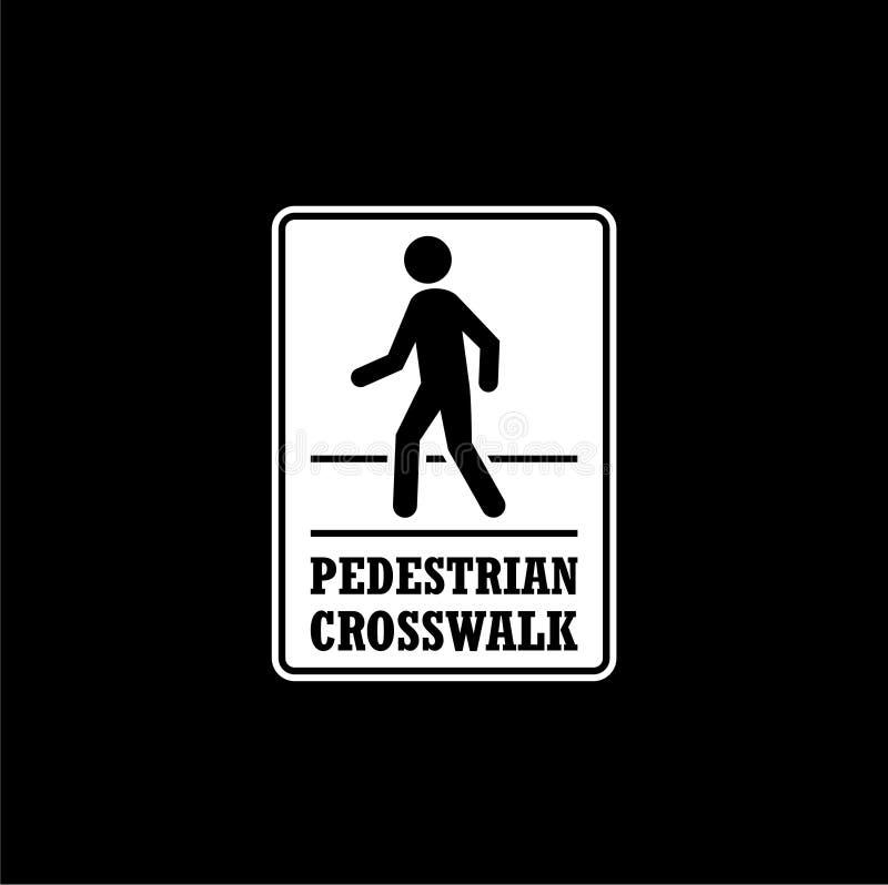 Symbol eller logo för tecken för fot- trafik som isoleras på mörk bakgrund stock illustrationer