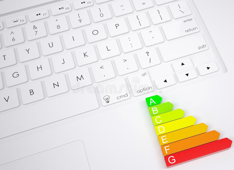 Symbol of energy efficiency on the keyboard royalty free illustration