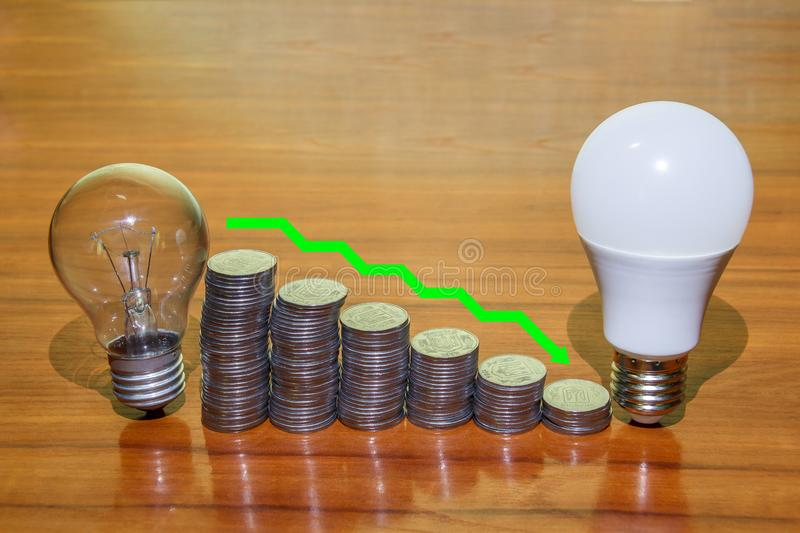 The symbol of energy saving shows how much money can be saved by using an LED light bulb instead of an incandescent royalty free stock photos