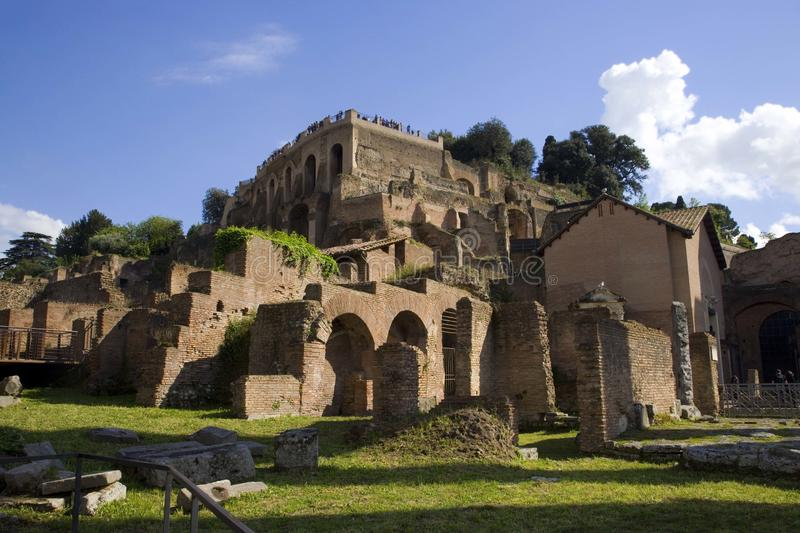 Palatine hill Rome Italy archaeology the antiquity of the excavations rainbow stormy sky stock photo