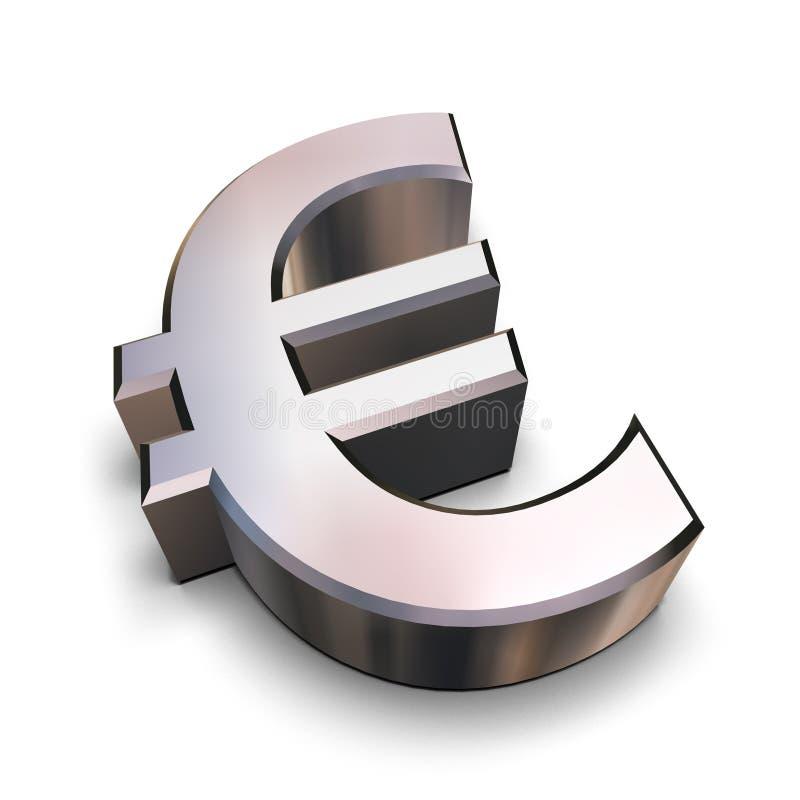 symbol euro 3 d chromu ilustracji