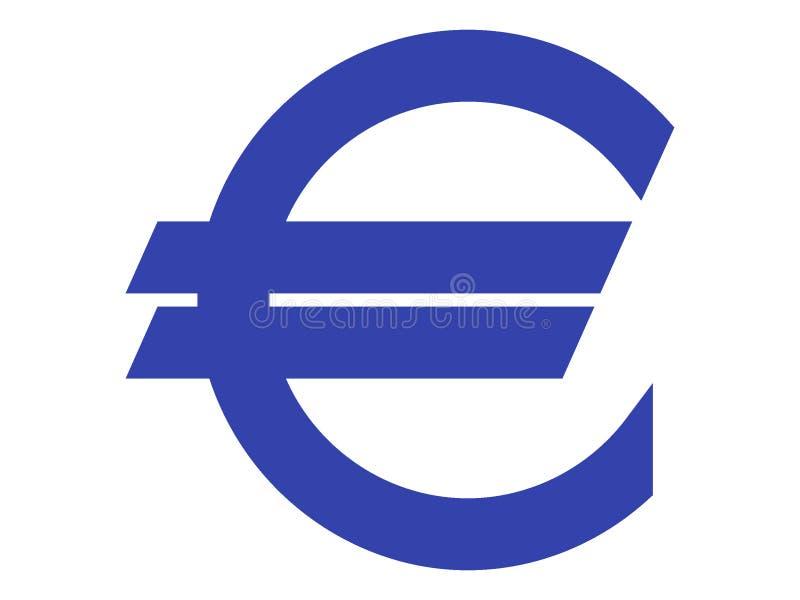 Symbol euro błękit na bielu royalty ilustracja