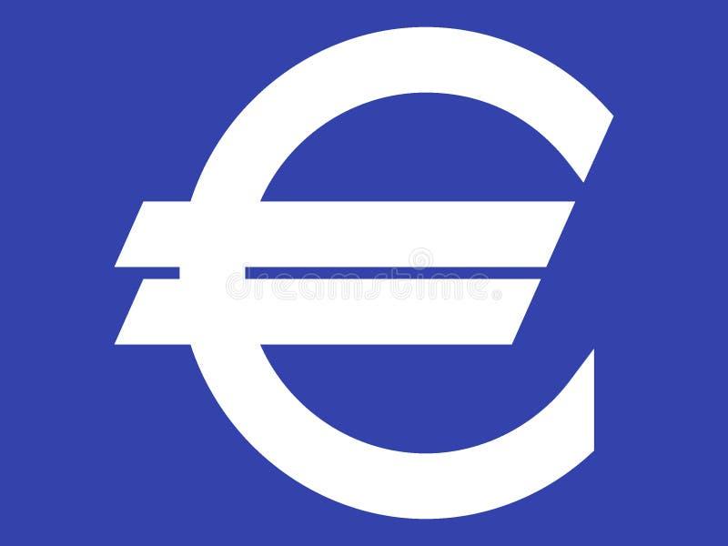 Symbol euro biel na błękicie royalty ilustracja