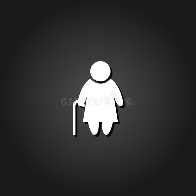 Symbol för äldre dam framlänges vektor illustrationer