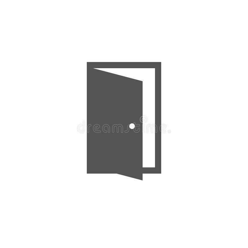 Symbol för öppen dörr i moderiktig plan stil Symbol för websitedesign, royaltyfri illustrationer
