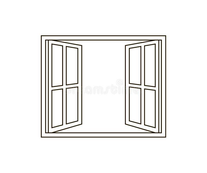 Symbol för öppet fönster vektor illustrationer