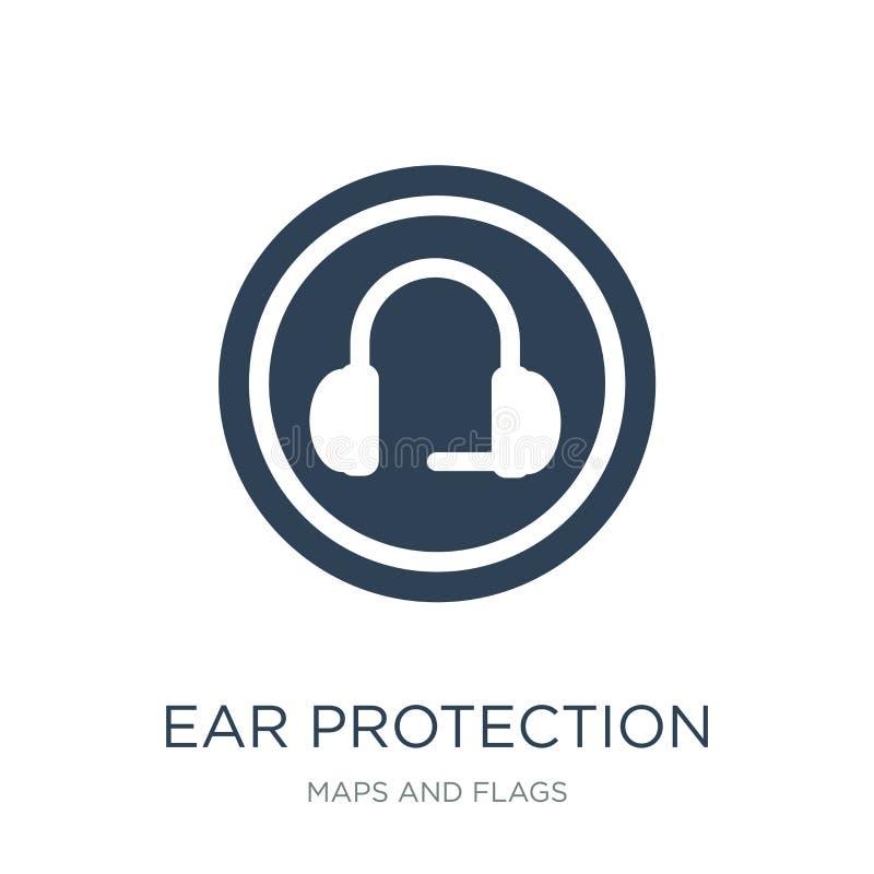 symbol för öraskydd i moderiktig designstil symbol för öraskydd som isoleras på vit bakgrund enkel symbol för vektor för öraskydd royaltyfri illustrationer