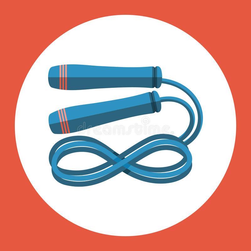 Symbol för överhopprep Blått överhopprep på en röd bakgrund den färga utrustningillustrationen skidar sportvatten också vektor fö vektor illustrationer
