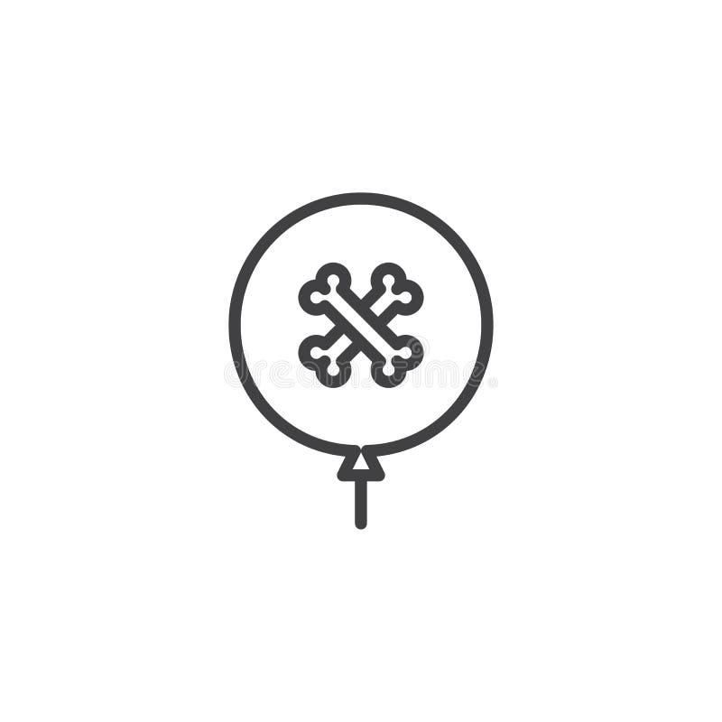 Symbol för översikt för allhelgonaaftonpartiballong stock illustrationer