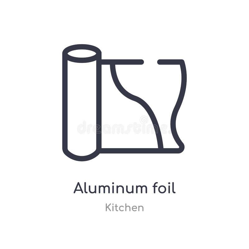 symbol för översikt för aluminiumfolie isolerad linje vektorillustration fr?n k?ksamling redigerbar tunn symbol för slaglängdalum vektor illustrationer