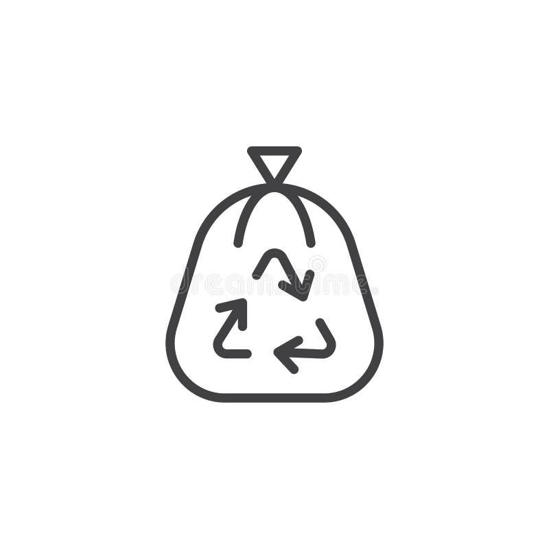 Symbol för översikt för avfallpåse vektor illustrationer