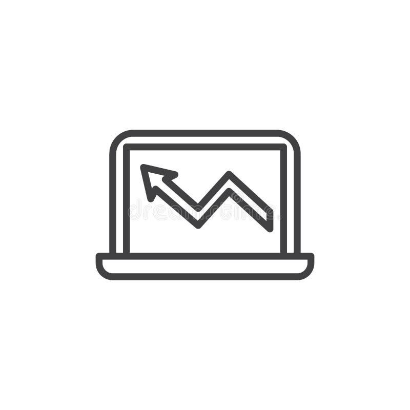 Symbol för översikt för bärbar dator för affärsdiagram royaltyfri illustrationer