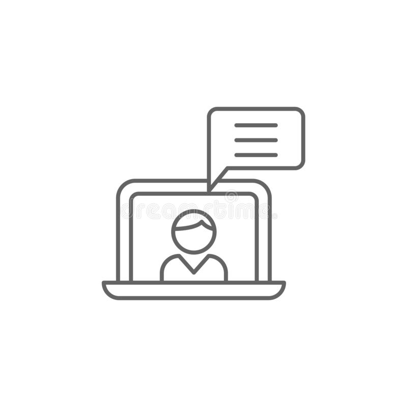 symbol för översikt för bärbar datorpojkekamratskap Beståndsdelar av kamratskaplinjen symbol Tecknet, symboler och vektorer kan a stock illustrationer