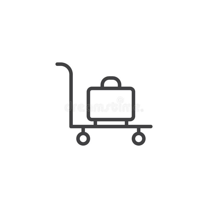 Symbol för översikt för bagagespårvagnvagn royaltyfri illustrationer