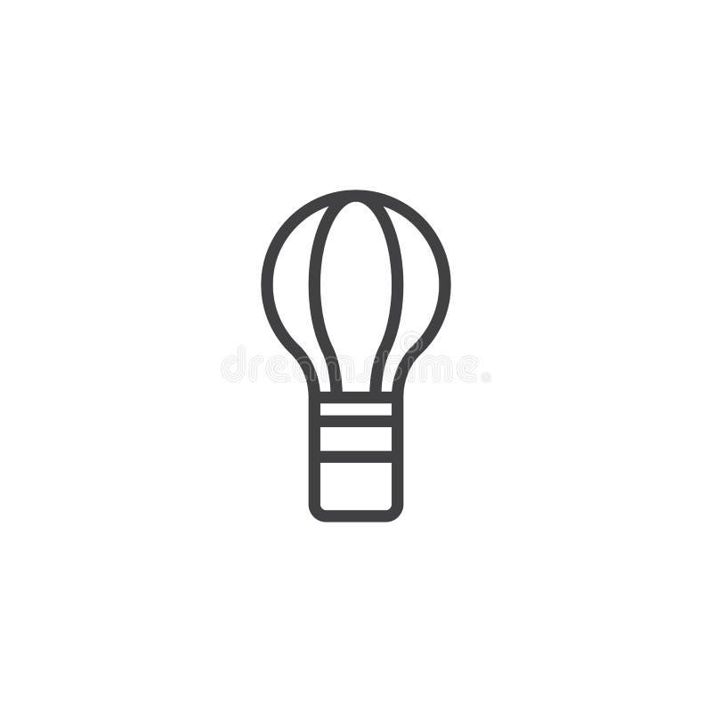Symbol för översikt för ballong för varm luft vektor illustrationer