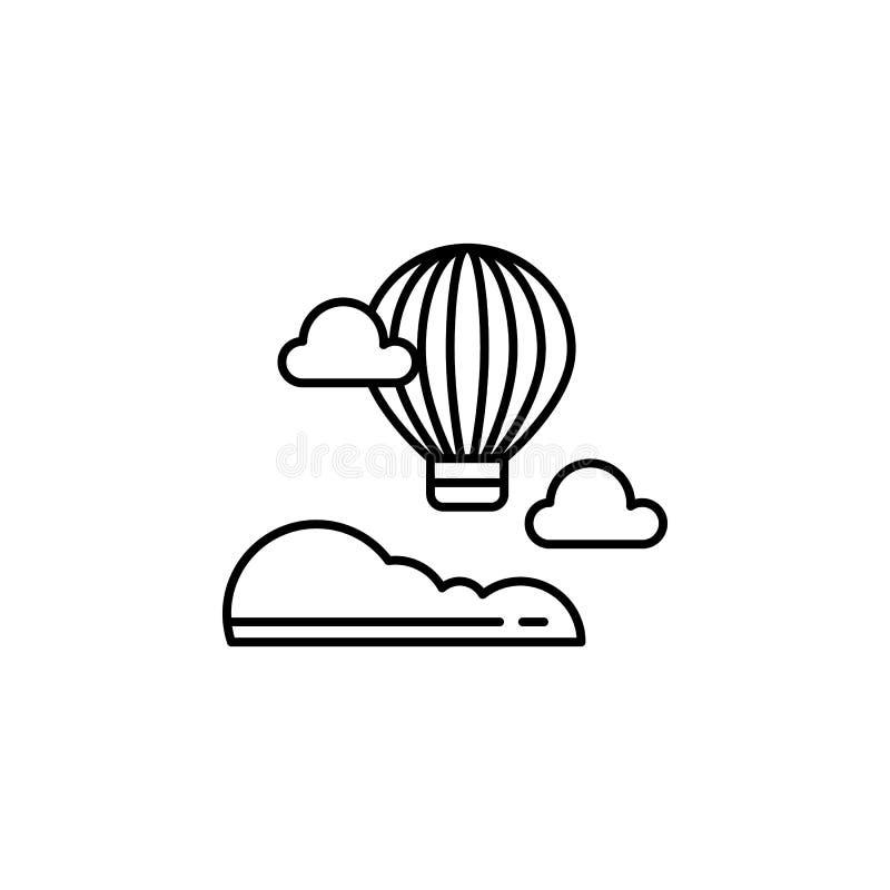 Symbol för översikt för ballong för varm luft Beståndsdel av landskapillustrationen Tecknet och symboler skisserar symbolen kan a vektor illustrationer