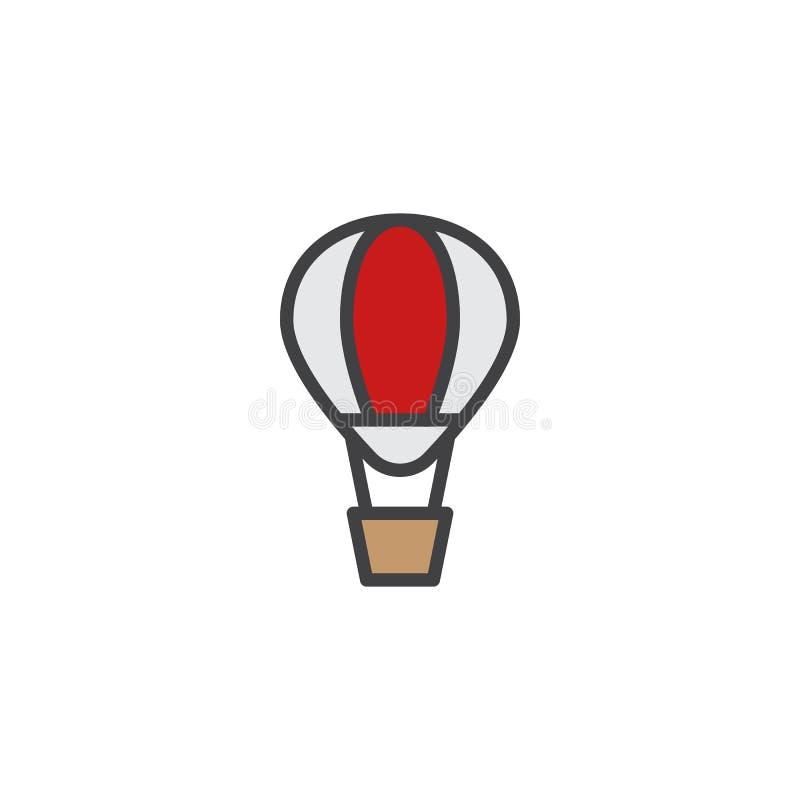 Symbol för översikt för ballong för varm luft fylld royaltyfri illustrationer