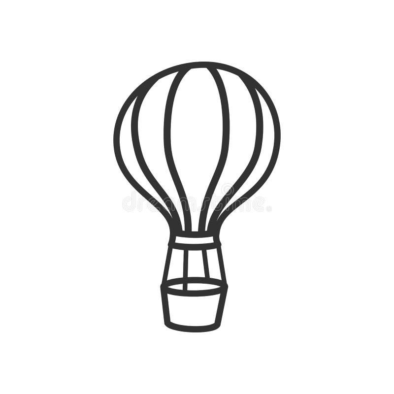 Symbol för översikt för ballong för varm luft plan på vit vektor illustrationer