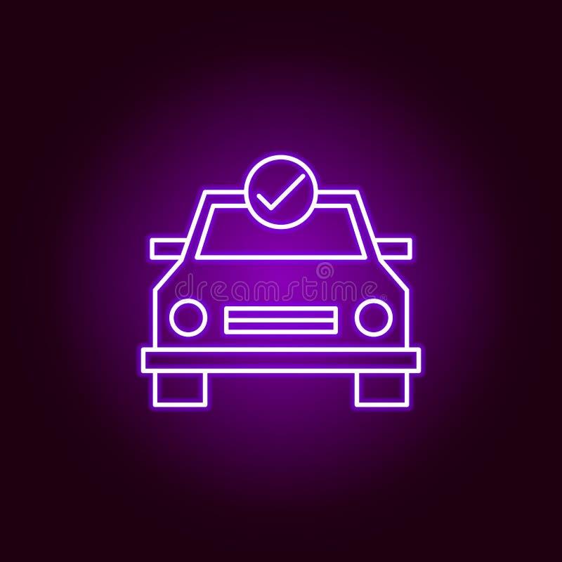 symbol för översikt för bilkontrollunderhåll i neonstil Beståndsdelar av bilreparationsillustrationen i neonstilsymbol Tecknet oc stock illustrationer